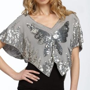 Free People Sequin Silver Butterfly Chiffon Top S